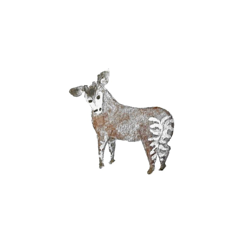 Watercolor Okapi from Behind   by The Wilderness Store