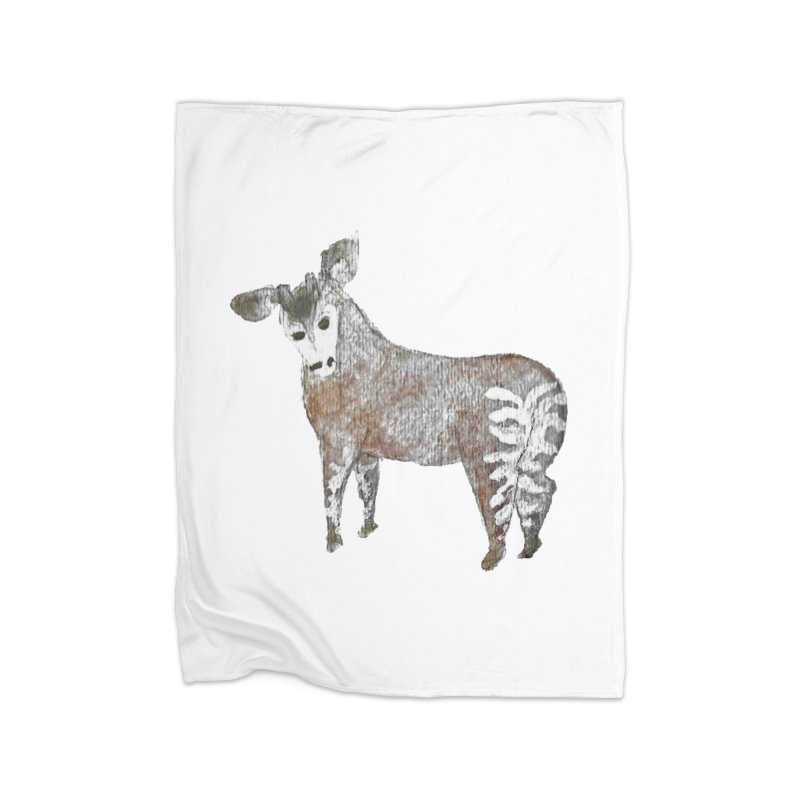 Watercolor Okapi from Behind Home Fleece Blanket Blanket by The Wilderness Store