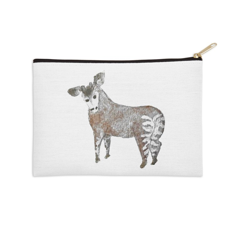 Watercolor Okapi from Behind Accessories Zip Pouch by The Wilderness Store