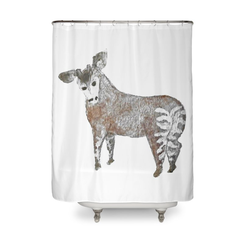 Watercolor Okapi from Behind Home Shower Curtain by The Wilderness Store