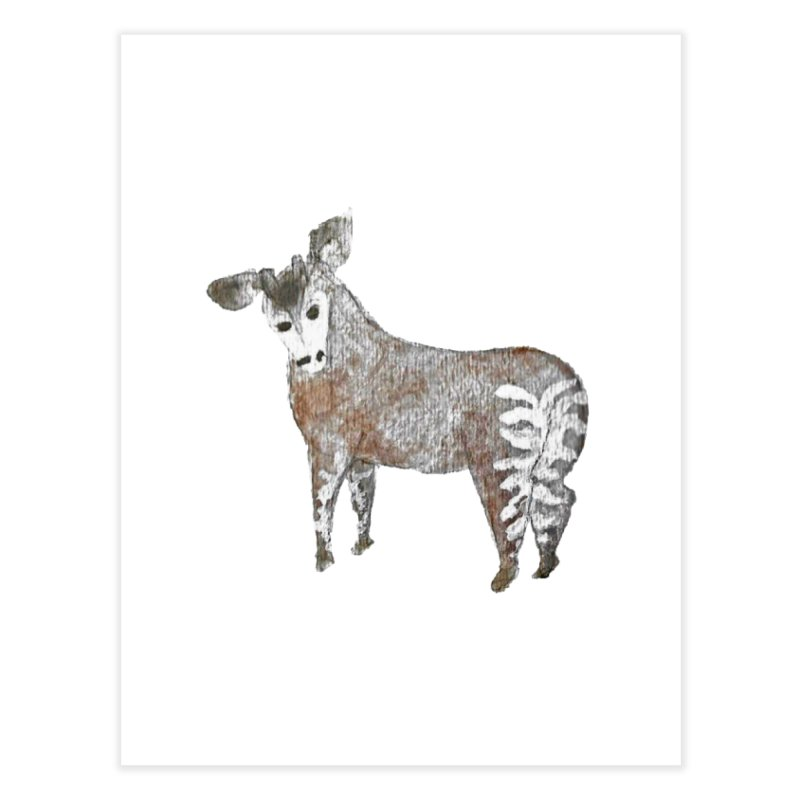 Watercolor Okapi from Behind Home Fine Art Print by The Wilderness Store