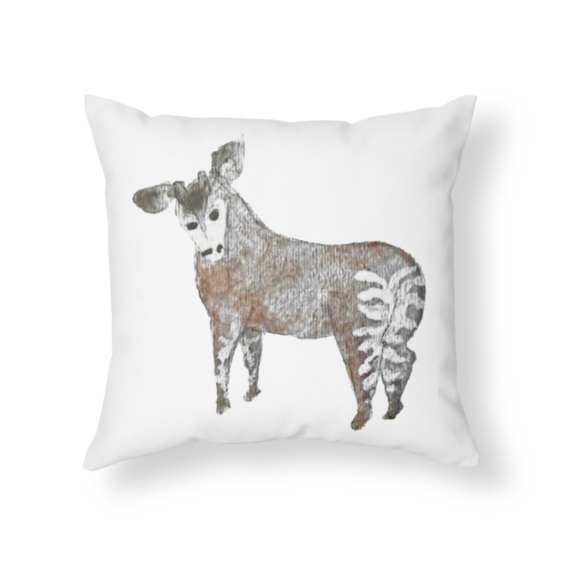 Watercolor Okapi from Behind Home Throw Pillow by The Wilderness Store