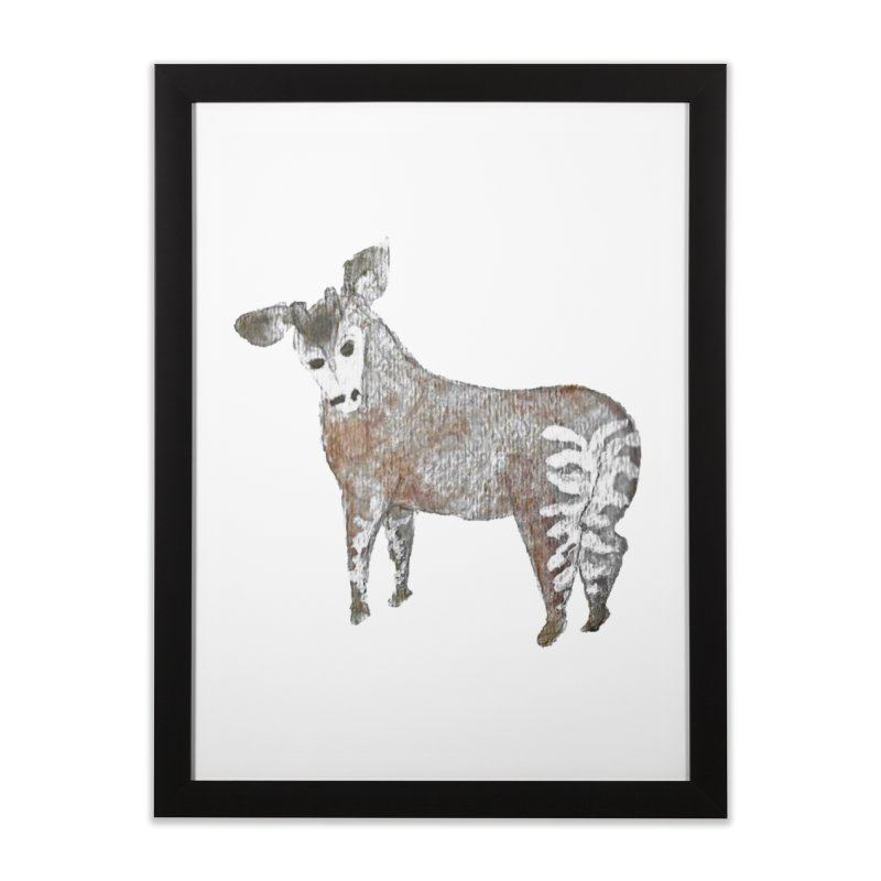 Watercolor Okapi from Behind Home Framed Fine Art Print by The Wilderness Store