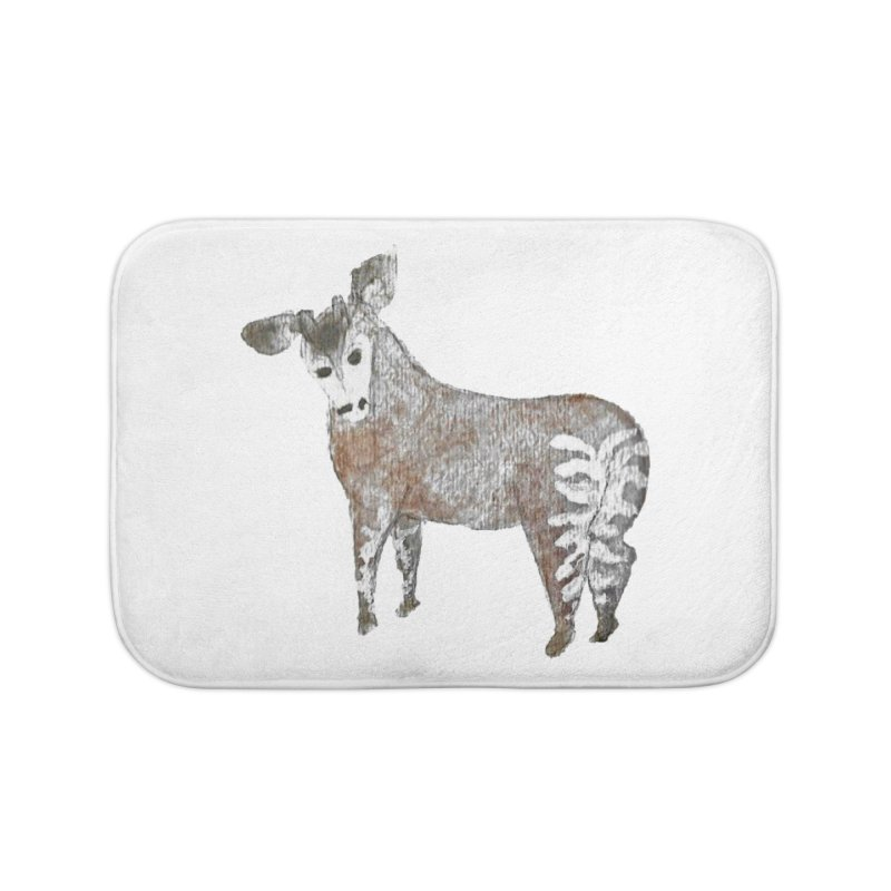 Watercolor Okapi from Behind Home Bath Mat by The Wilderness Store