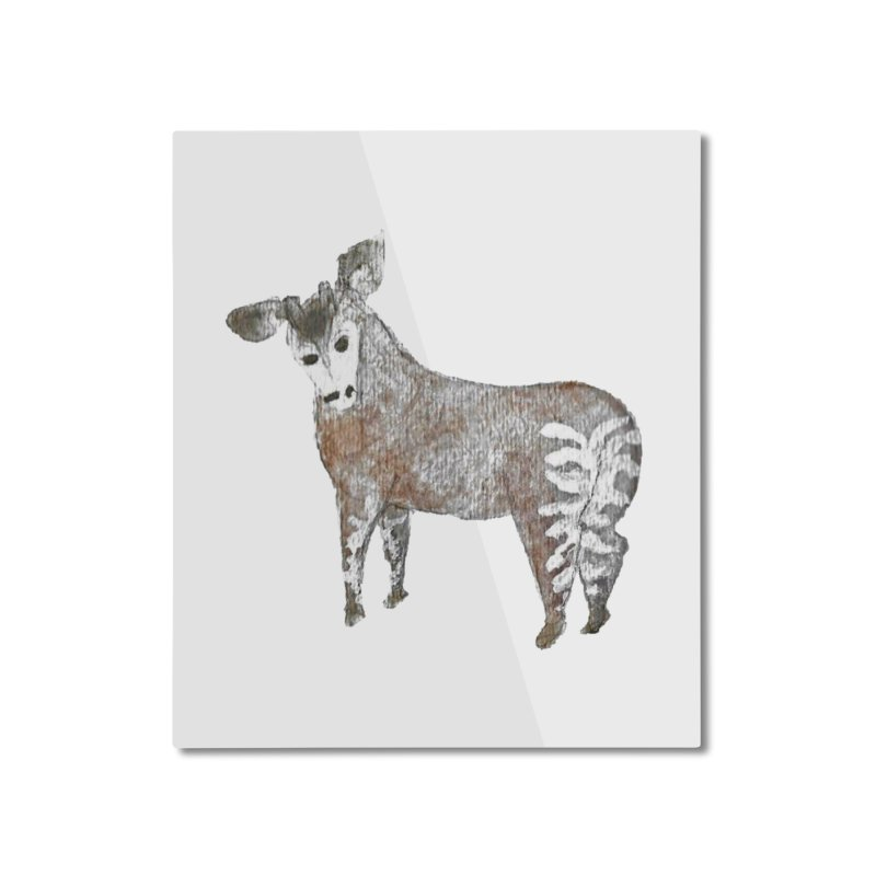 Watercolor Okapi from Behind Home Mounted Aluminum Print by The Wilderness Store