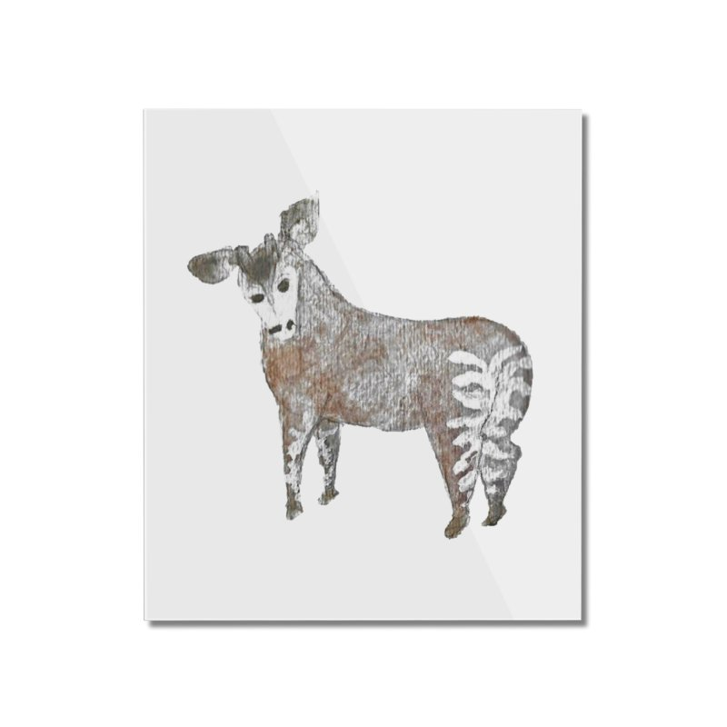 Watercolor Okapi from Behind Home Mounted Acrylic Print by The Wilderness Store