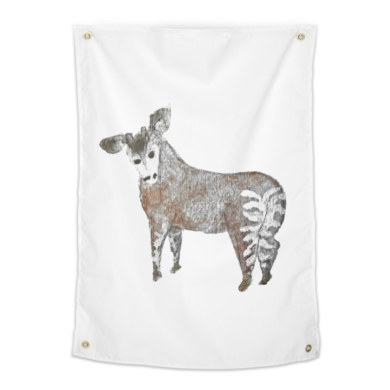 Watercolor Okapi from Behind Home Tapestry by The Wilderness Store