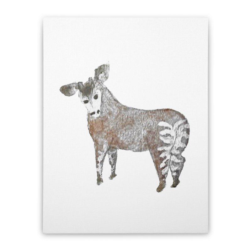 Watercolor Okapi from Behind Home Stretched Canvas by The Wilderness Store
