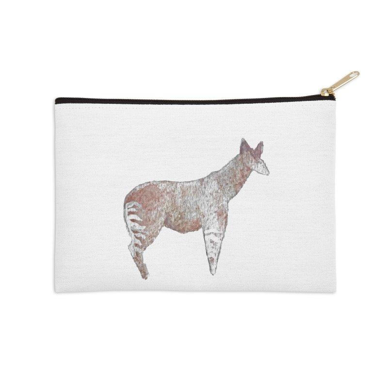 Watercolor Okapi Standing Accessories Zip Pouch by The Wilderness Store
