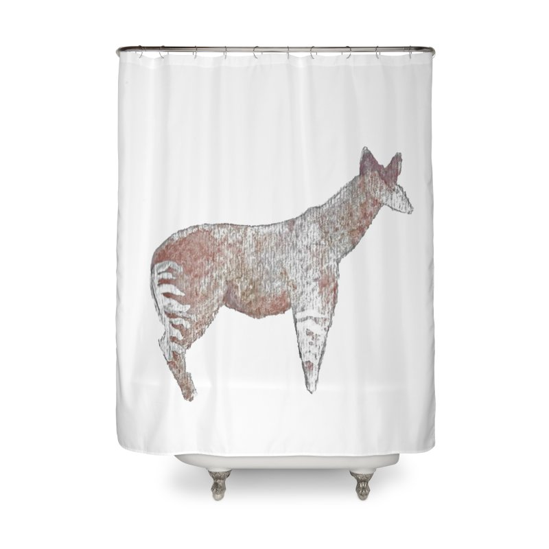 Watercolor Okapi Standing Home Shower Curtain by The Wilderness Store