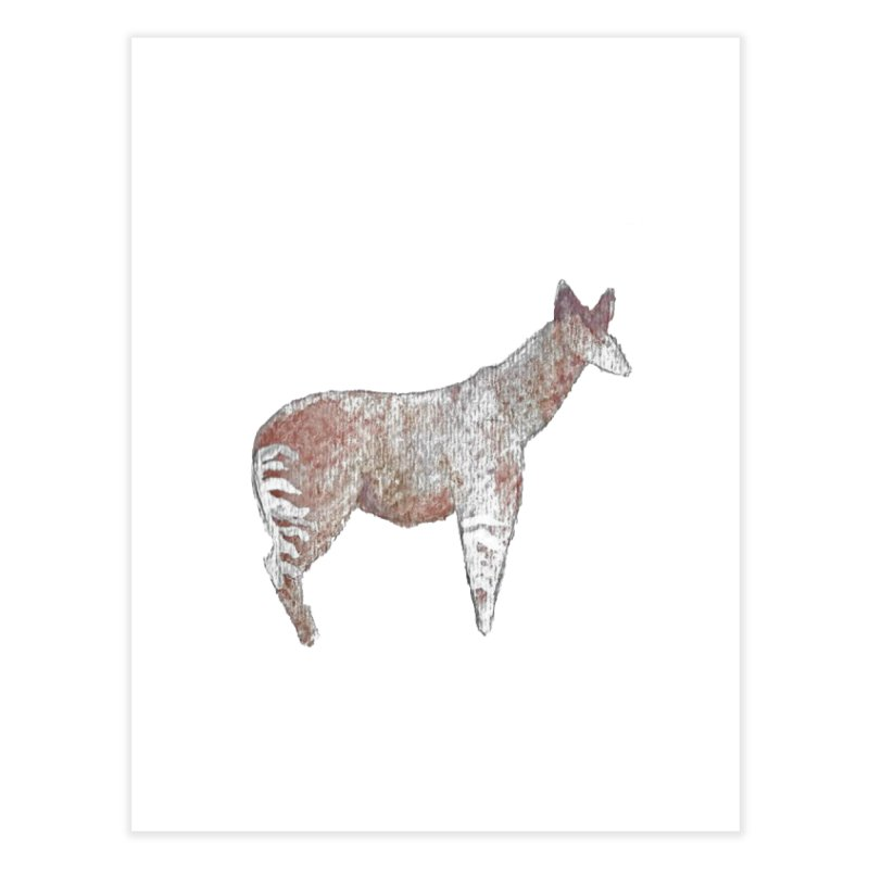 Watercolor Okapi Standing Home Fine Art Print by The Wilderness Store