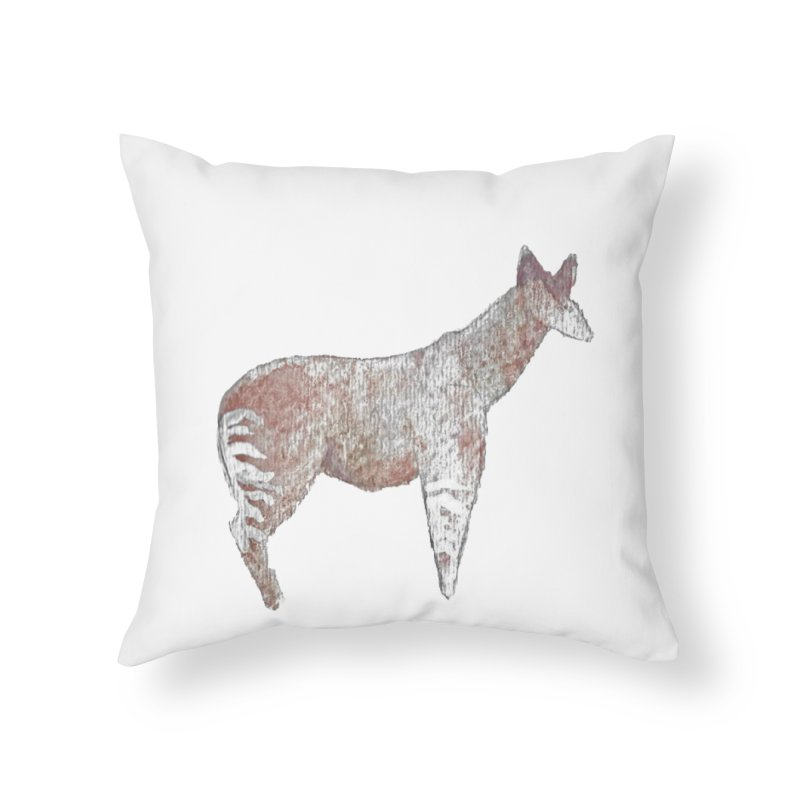 Watercolor Okapi Standing Home Throw Pillow by The Wilderness Store