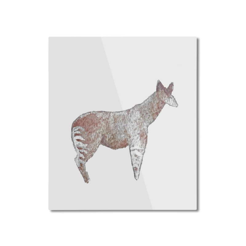 Watercolor Okapi Standing Home Mounted Aluminum Print by The Wilderness Store