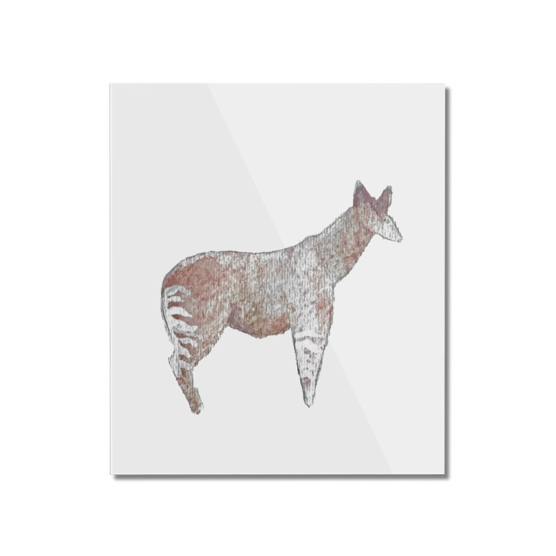 Watercolor Okapi Standing Home Mounted Acrylic Print by The Wilderness Store