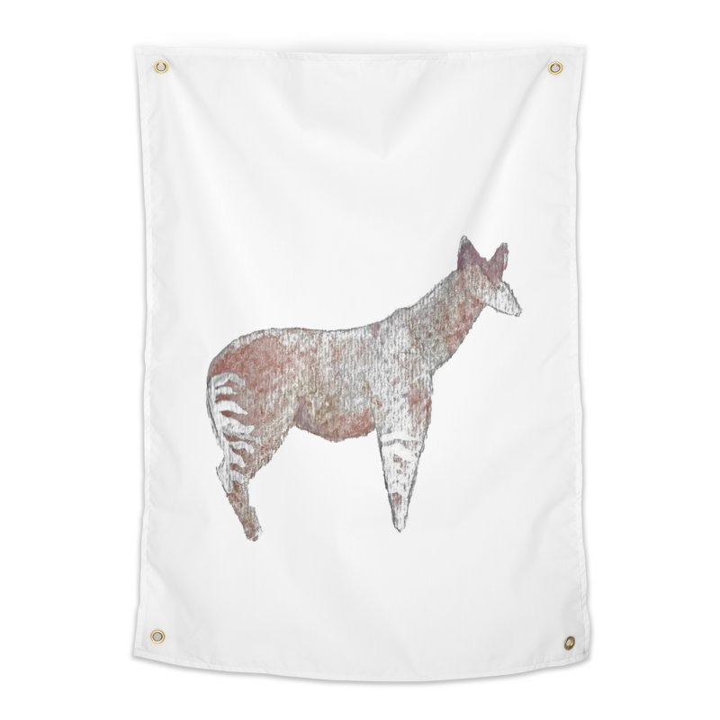 Watercolor Okapi Standing Home Tapestry by The Wilderness Store