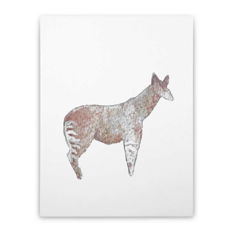 Watercolor Okapi Standing Home Stretched Canvas by The Wilderness Store