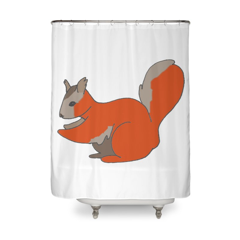 Red Tree Squirrel Home Shower Curtain by The Wilderness Store