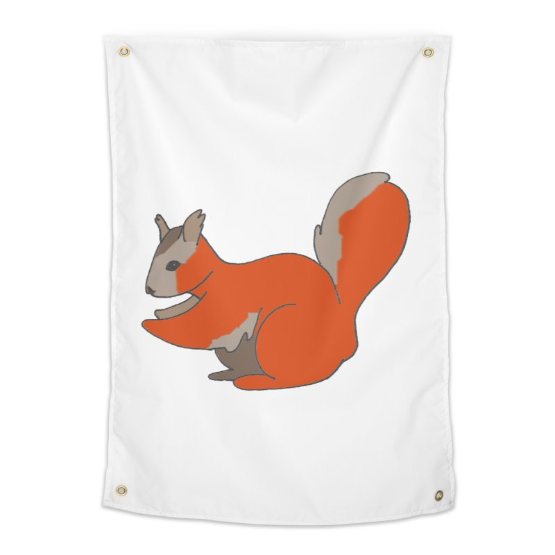 Red Tree Squirrel Home Tapestry by The Wilderness Store