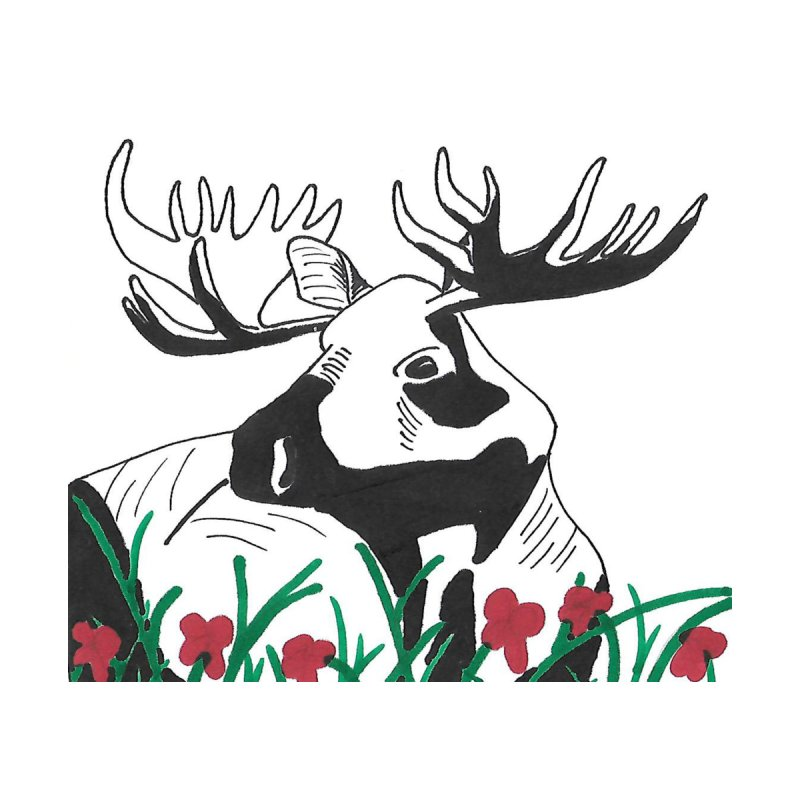 Moose Among Flowers by The Wilderness Store