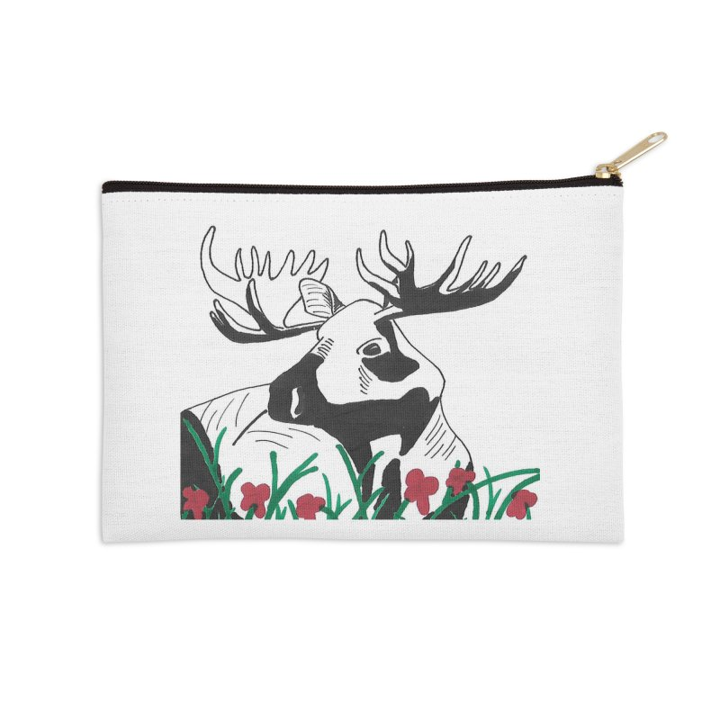 Moose Among Flowers Accessories Zip Pouch by The Wilderness Store