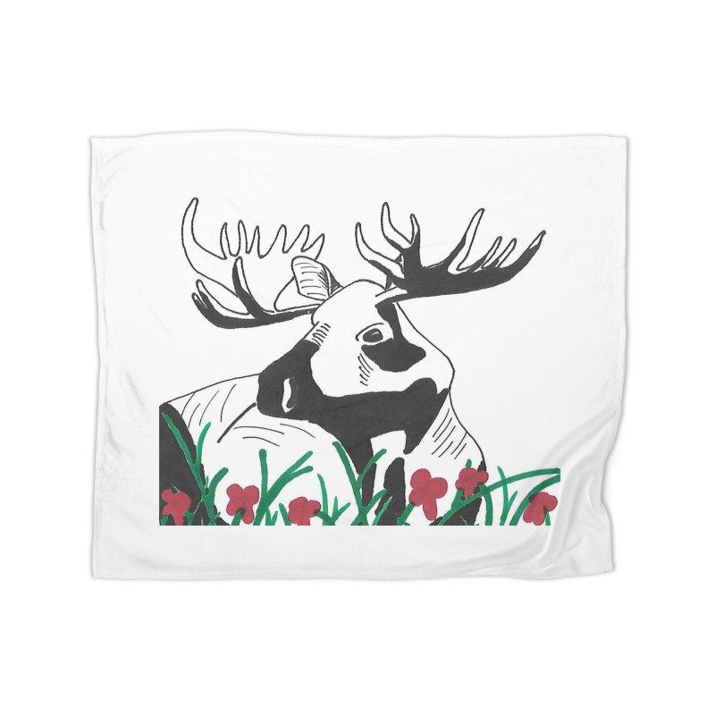 Moose Among Flowers Home Fleece Blanket Blanket by The Wilderness Store