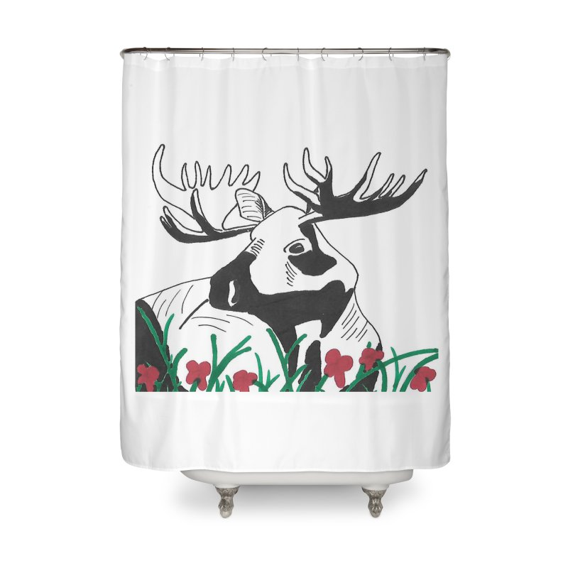 Moose Among Flowers Home Shower Curtain by The Wilderness Store