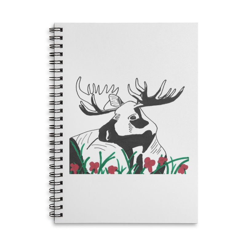 Moose Among Flowers Accessories Lined Spiral Notebook by The Wilderness Store
