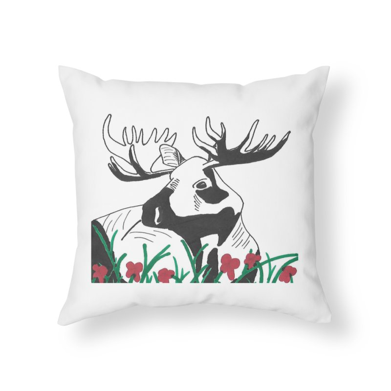 Moose Among Flowers Home Throw Pillow by The Wilderness Store