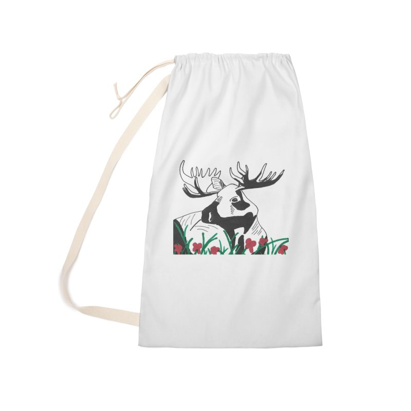Moose Among Flowers Accessories Laundry Bag Bag by The Wilderness Store