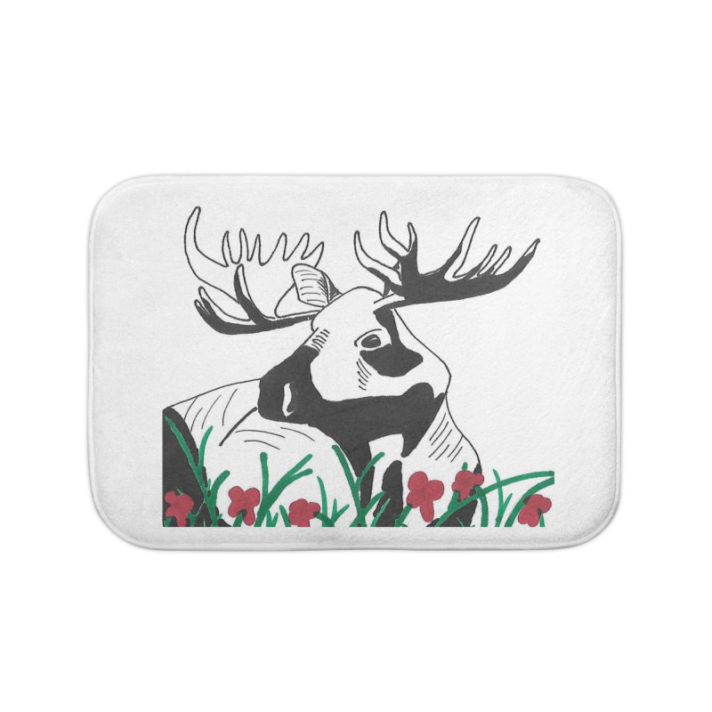 Moose Among Flowers Home Bath Mat by The Wilderness Store