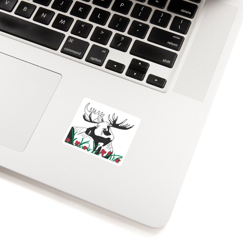 Moose Among Flowers Accessories Sticker by The Wilderness Store
