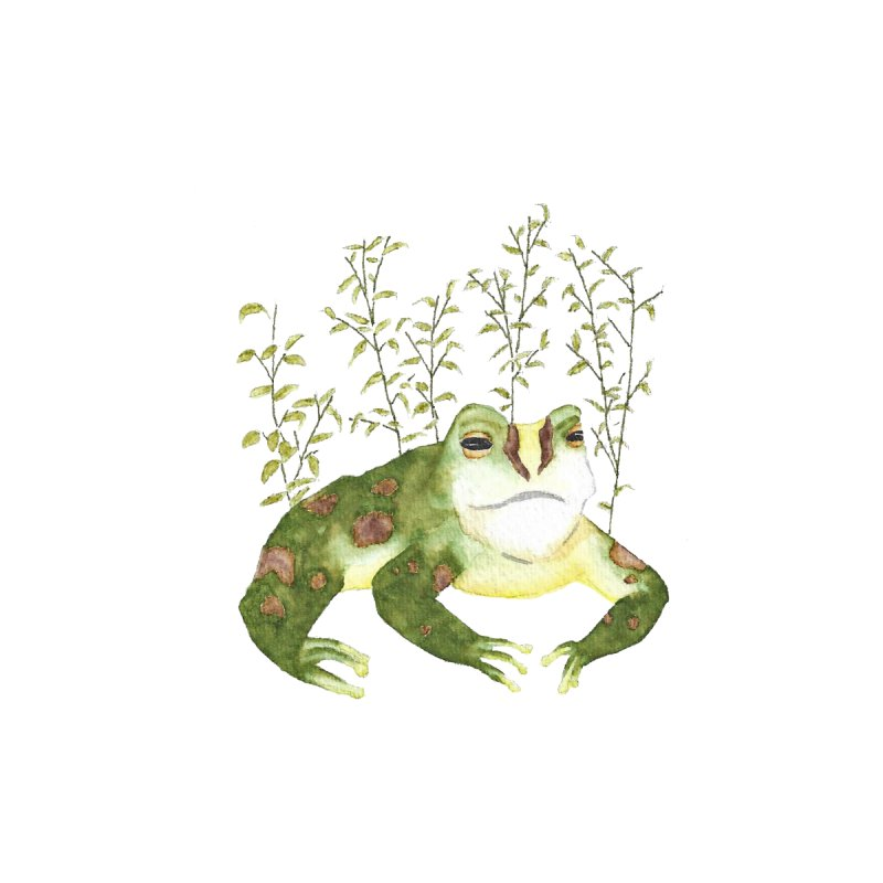 Green Watercolor Frog with Leaves Home Throw Pillow by The Wilderness Store