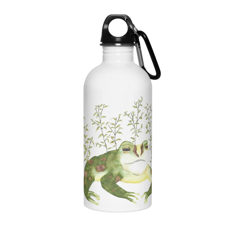 Green Watercolor Frog with Leaves Accessories Water Bottle by The Wilderness Store