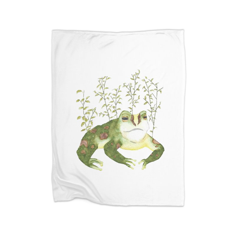 Green Watercolor Frog with Leaves Home Fleece Blanket Blanket by The Wilderness Store