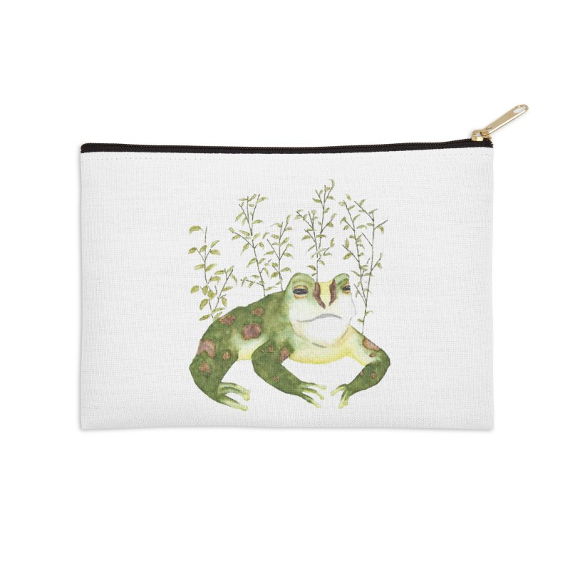 Green Watercolor Frog with Leaves Accessories Zip Pouch by The Wilderness Store