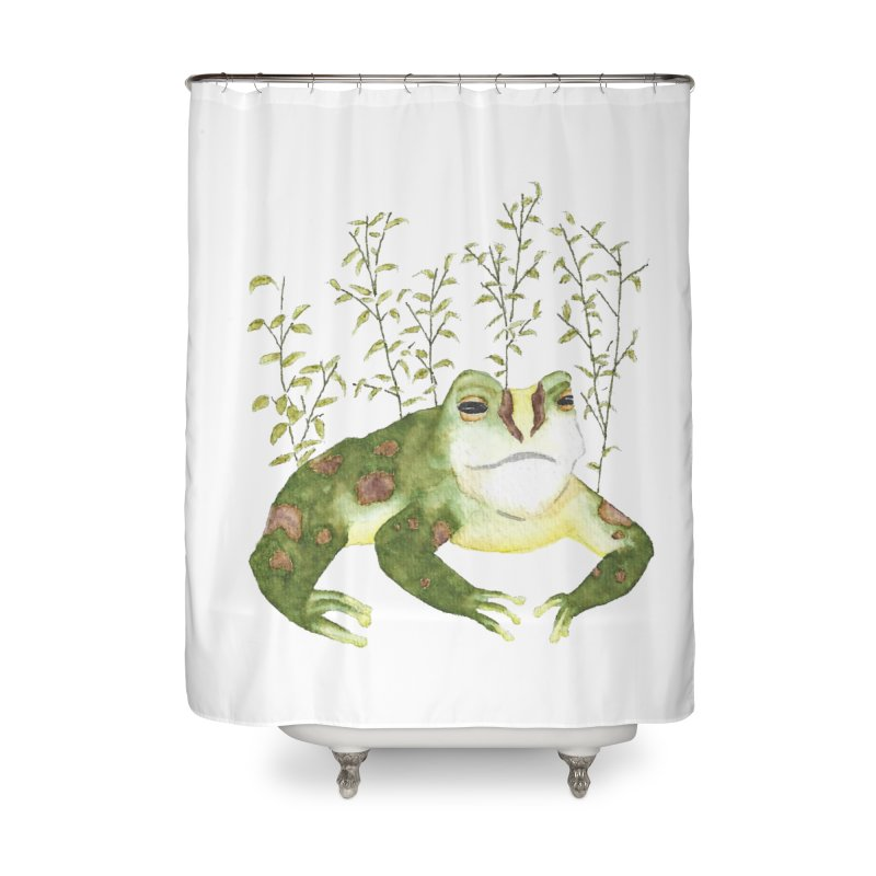 Green Watercolor Frog with Leaves Home Shower Curtain by The Wilderness Store