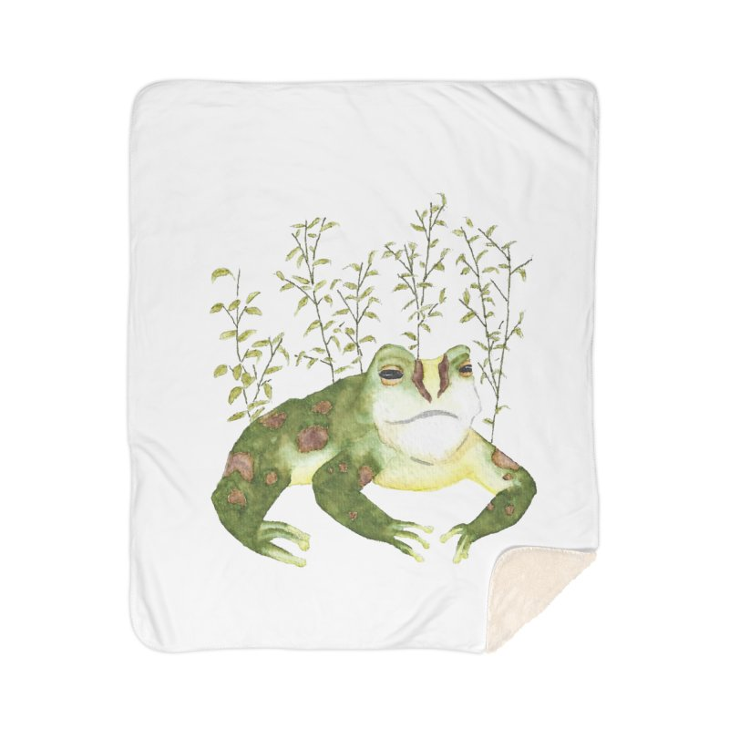 Green Watercolor Frog with Leaves Home Sherpa Blanket Blanket by The Wilderness Store