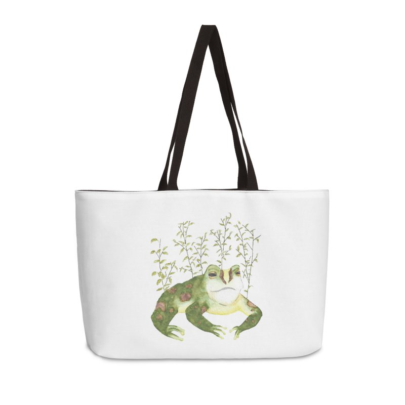 Green Watercolor Frog with Leaves Accessories Weekender Bag Bag by The Wilderness Store