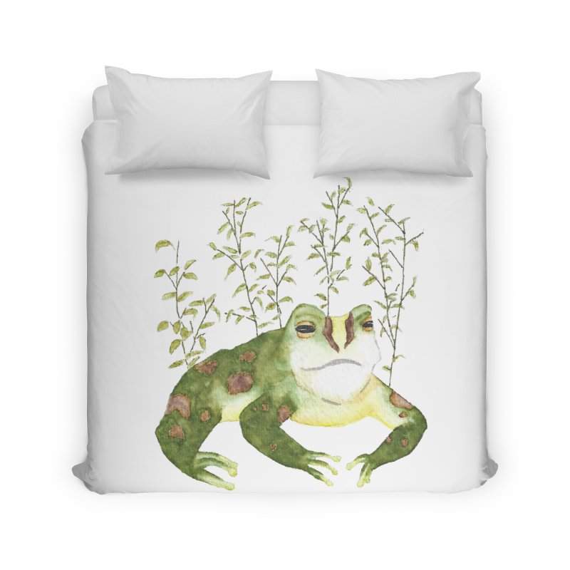 Green Watercolor Frog with Leaves Home Duvet by The Wilderness Store
