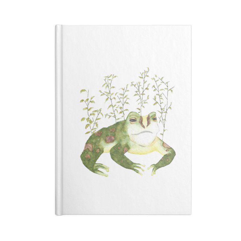 Green Watercolor Frog with Leaves Accessories Lined Journal Notebook by The Wilderness Store