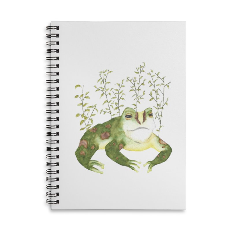 Green Watercolor Frog with Leaves Accessories Lined Spiral Notebook by The Wilderness Store