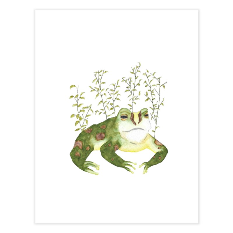 Green Watercolor Frog with Leaves Home Fine Art Print by The Wilderness Store