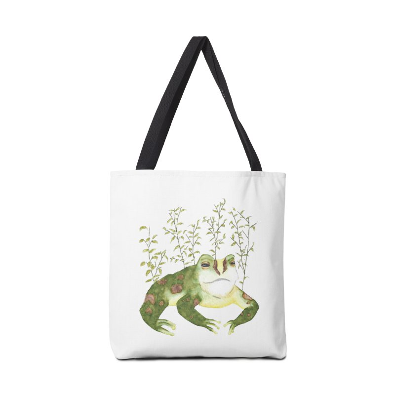 Green Watercolor Frog with Leaves Accessories Tote Bag Bag by The Wilderness Store