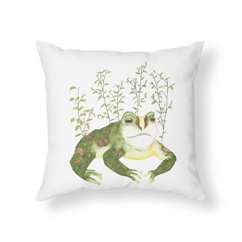 Green Watercolor Frog with Leaves in Throw Pillow by The Wilderness Store