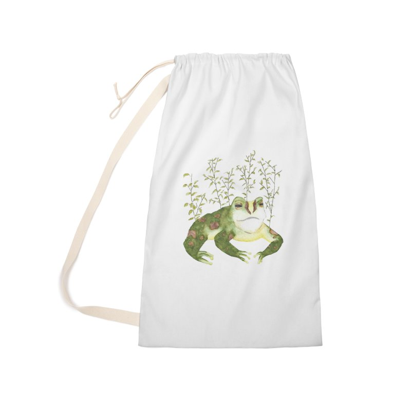 Green Watercolor Frog with Leaves Accessories Laundry Bag Bag by The Wilderness Store