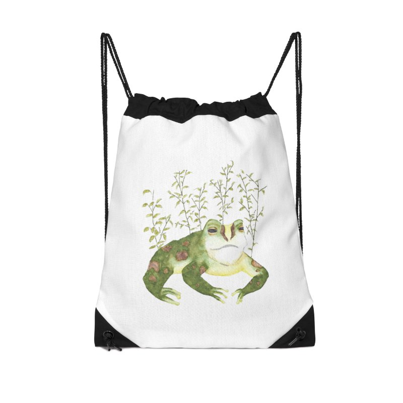 Green Watercolor Frog with Leaves Accessories Drawstring Bag Bag by The Wilderness Store