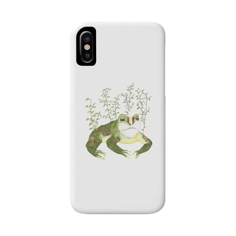 Green Watercolor Frog with Leaves Accessories Phone Case by The Wilderness Store