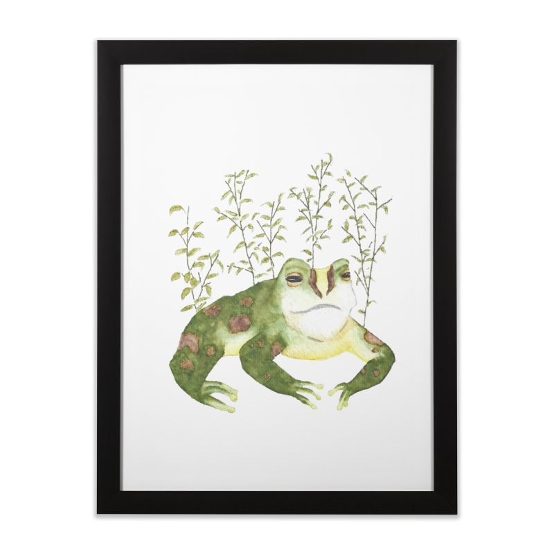 Green Watercolor Frog with Leaves Home Framed Fine Art Print by The Wilderness Store