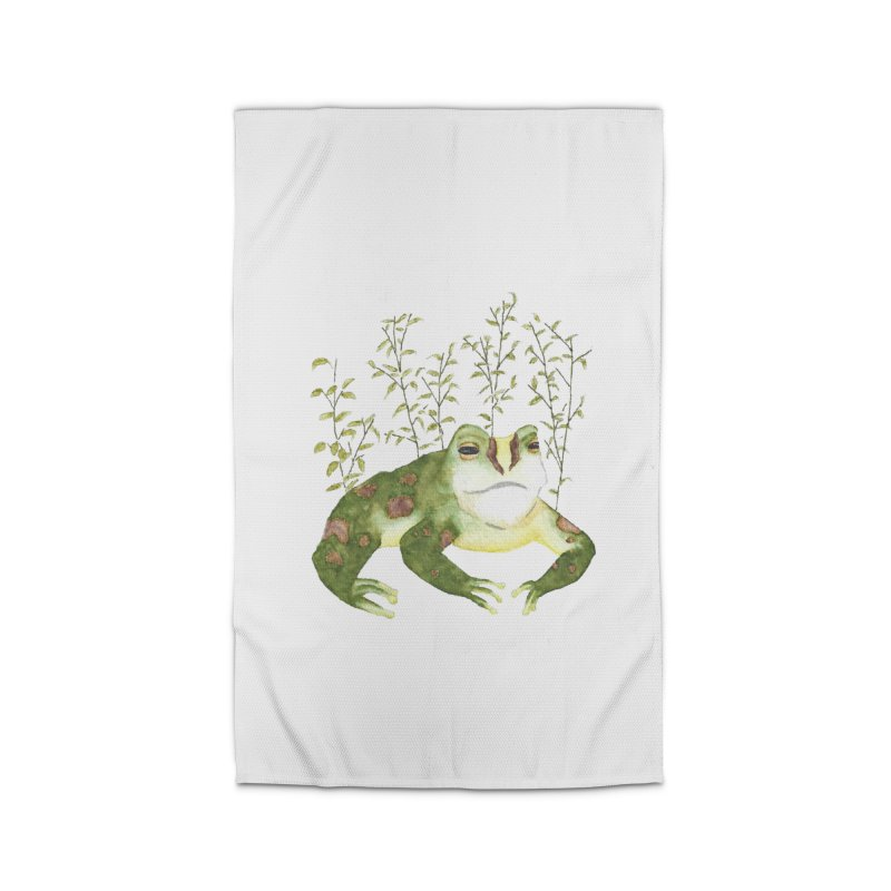 Green Watercolor Frog with Leaves Home Rug by The Wilderness Store