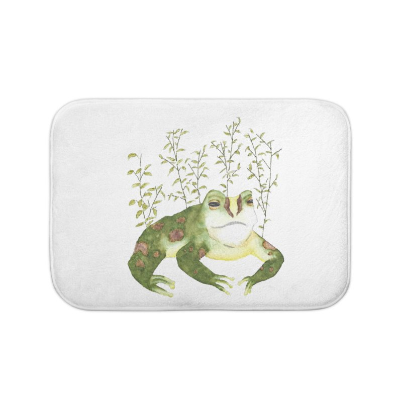 Green Watercolor Frog with Leaves Home Bath Mat by The Wilderness Store